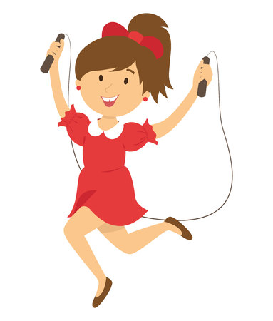 girl with skipping rope Ilustrace