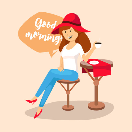 Woman drinking coffee in a cafe, good morning, vector Ilustracja