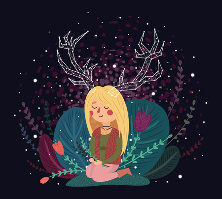 starry night: Forest spirit, girl with horns, constellation, vector