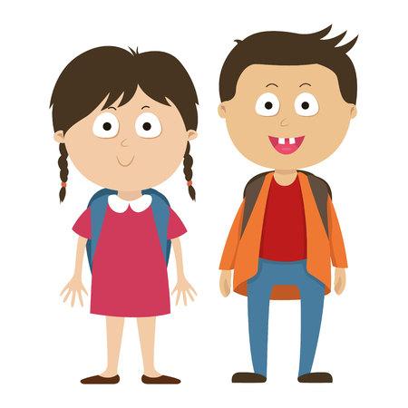pareja comiendo: School children, a boy and girl children