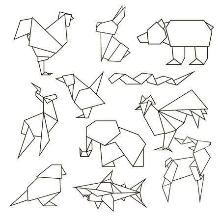 snake origami: Animals set - Rooster, rabbit, bear, bird etc. Illustration