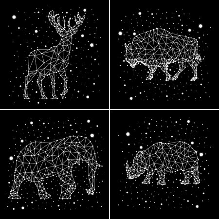 starry night: Set of constellations. Deer, elephant, rhinoceros, bison. Vector