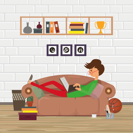 stylus: Office worker with a computer. Freelance designer. A man lying on the couch. Home office interior Illustration