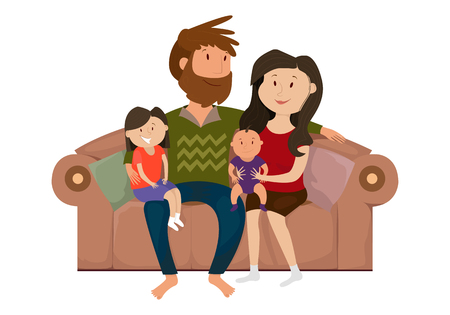 child sitting: A happy family on the couch