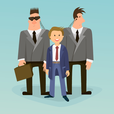 bodyguard: Bodyguard, a security guard. vector Illustration