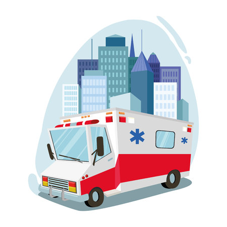 Ambulance. transport, rescue. cityscape. against the backdrop of the city