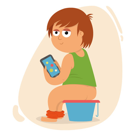 A child playing on the phone and sitting on the pot