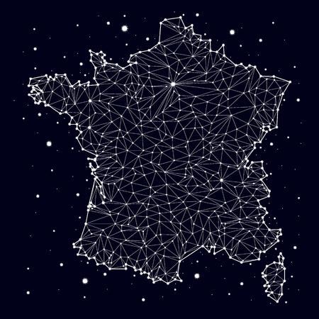 corsica: France. Map. Constellation. vector