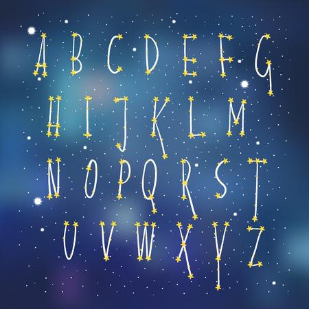 De constellatieruimte van het alfabet, de doopvont van kinderen, vector