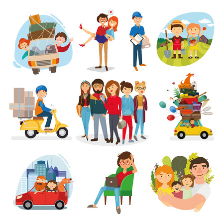 set of happy family, people, with their suitcases family, dinner, mom reads a story to children, large, Muslim, fashion illustration, stylish teenagers, friendship, vector Ilustração