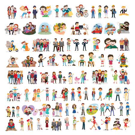 set of happy family, people, with their suitcases family, dinner, mom reads a story to children, large, Muslim, fashion illustration, stylish teenagers, friendship, vector Illustration