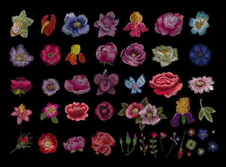 Kranvogel, Blumen, Rose, Hagebutte, Pflanze. Traditionelle Volksstickerei auf schwarzem Hintergrund. Skizze zum Bedrucken von Kleidung, Stoff, Tasche, Accessoires und Design. Vektor, Trend