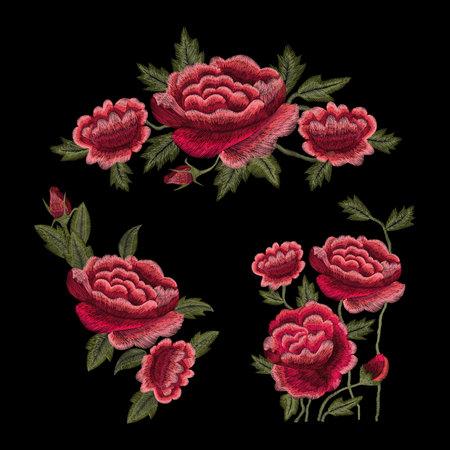 Kranvogel, Blumen, Rose, Hagebutte, Pflanze. Traditionelle Volksstickerei auf schwarzem Hintergrund. Skizze zum Bedrucken von Kleidung, Stoff, Tasche, Accessoires und Design. Vektor, Trend Vektorgrafik