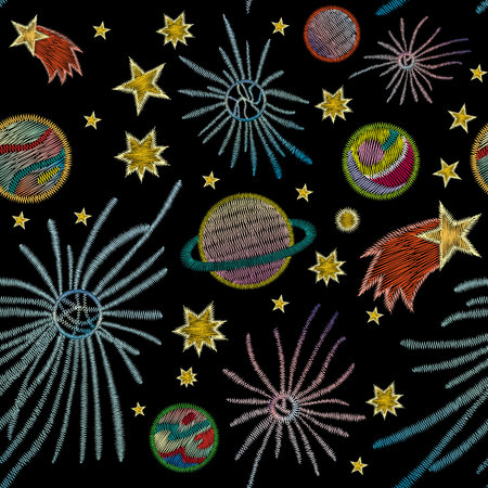 Space, stars, planets. Traditional folk stylish stylish embroidery stitch on a black background. Sketch for printing on clothing, fabric, bag, accessories and design. vector