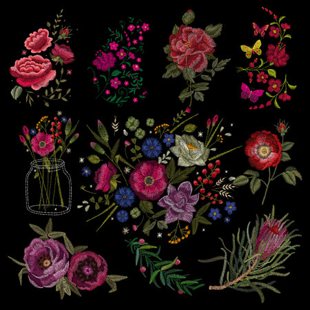 Traditional folk stylish stylish floral embroidery.