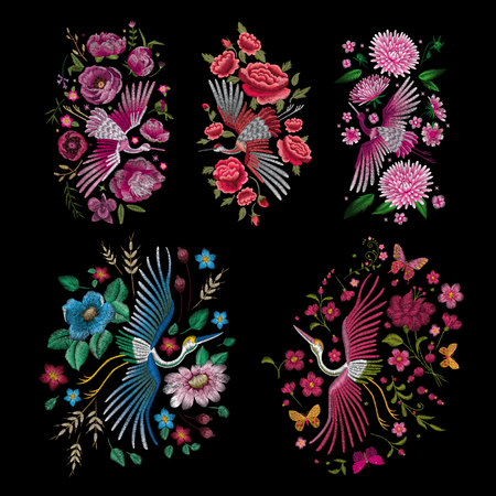 Tradycyjny ludowy stylowy haft. Ilustracje wektorowe