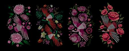 伝統的な民俗のスタイリッシュな刺繍。  イラスト・ベクター素材