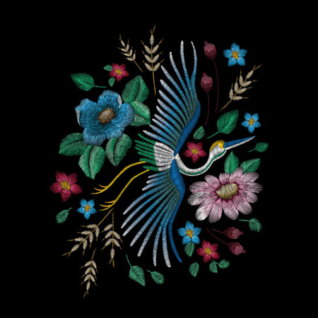 Traditional folk stylish embroidery. Illusztráció