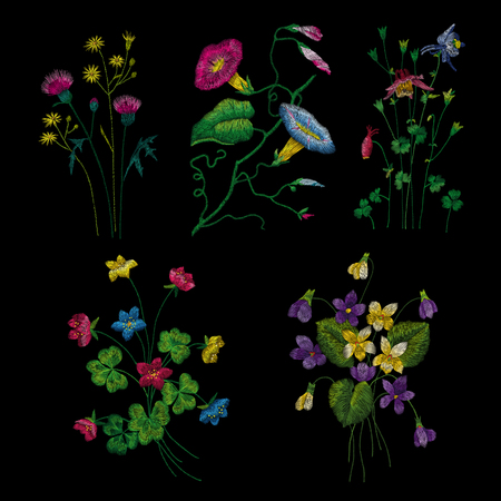 set of flowers. Traditional folk fashion embroidery on the black background. Pansies, roses, dog rose, cactus, plant. vector. Sketch for print on clothes