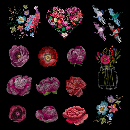 set of flowers. Traditional folk fashion embroidery on the black background. Pansies, roses, dog rose, cactus, plant. vector. Sketch for print on clothes Illustration
