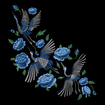 Crane bird, flowers, rose, rose-hip, plant. Traditional folk stylish embroidery on the black background. Sketch for printing on clothing, fabric, bag, accessories and design. Vector, trend