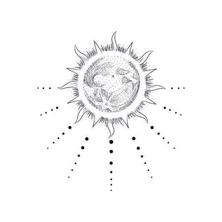 Ensemble d'illustration vectorielle des phases de la lune. Style de gravure Vecteurs