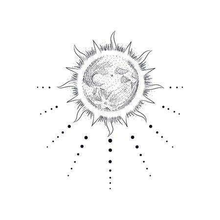Vector illustratie set maanstanden. Graveerstijl: Vector Illustratie