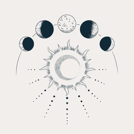 Conjunto de ilustración vectorial de fases lunares. Estilo de grabado