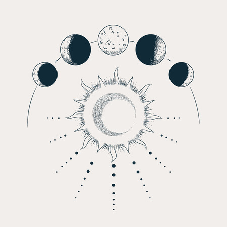 Vector illustration set of moon phases. Engraving style