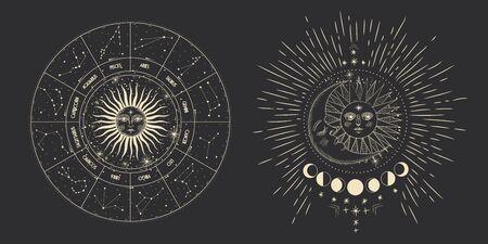 Wektor ilustracja zestaw faz księżyca. Różne etapy aktywności księżyca w stylu vintage grawerowania. znaki zodiaku