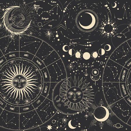 Illustrazione vettoriale di fasi lunari. Diverse fasi dell'attività al chiaro di luna in stile incisione vintage. segni zodiacali Vettoriali