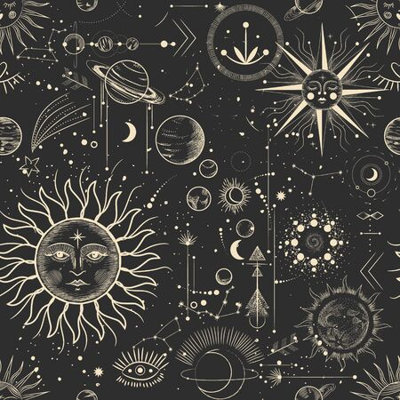 Conjunto de ilustración vectorial de fases lunares. Diferentes etapas de la actividad de la luz de la luna en estilo de grabado vintage. signos del zodiaco