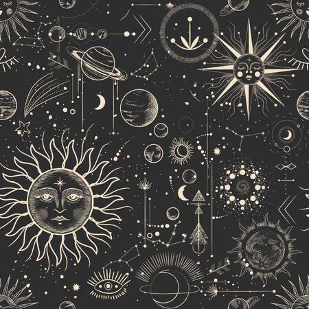 Illustrazione vettoriale di fasi lunari. Diverse fasi dell'attività al chiaro di luna in stile incisione vintage. segni zodiacali