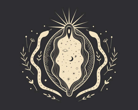 abstract image of a vagina. outer space, planets, moon and stars. snake tempter and plant herbs. printing on fabric and paper. radical femenism. vector 矢量图像