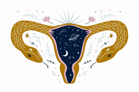 abstract image of a vagina. outer space, planets, moon and stars. snake tempter and plant herbs. printing on fabric and paper. radical femenism. vector