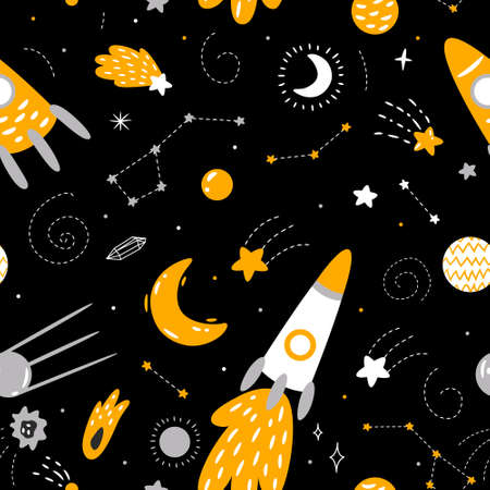 space collection. planets, stars, rocket, aliens, moon and sun. for printing on the poster, design of a nursery, clothes and fabrics. Vector graphics Illusztráció