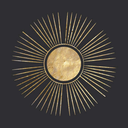 chic golden luxurious retro vintage engraving style. image of the sun and moon phases. culture of accultism. Vector graphics
