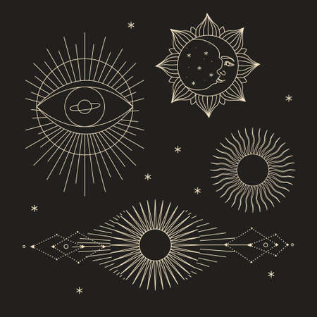 Vector illustration set of moon phases. New style, holographic background, trend shimmer. Different stages of moonlight activity in vintage engraving style. 矢量图像