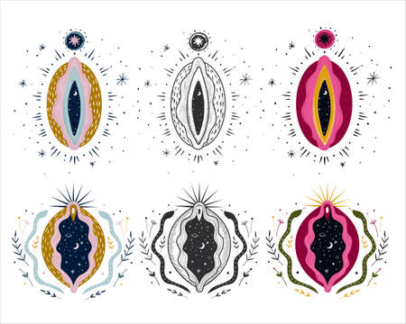 abstract image of a vagina. outer space, planets, moon and stars. snake tempter and plant herbs. printing on fabric and paper. radical femenism. vector Illusztráció