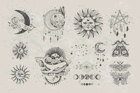 Vector illustration set of moon phases. New style, holographic background, trend shimmer. Different stages of moonlight activity in vintage engraving style. Vektorgrafik