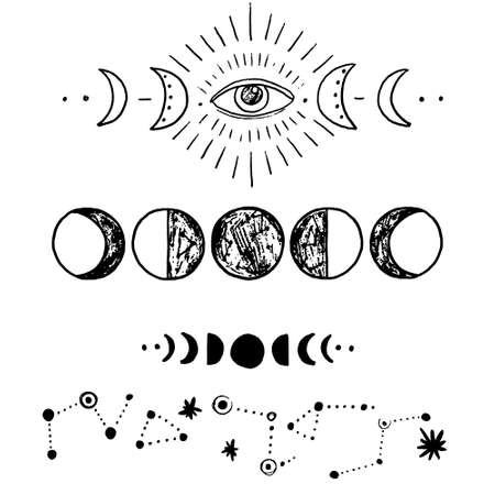 Vector illustration set of moon phases. New style, holographic background, trend shimmer. Different stages of moonlight activity in vintage engraving style. Illusztráció