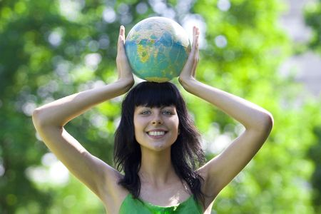 the natural world: beautiful brunet woman with global
