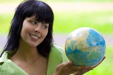 brunet bisnesswoman with global Stock Photo - 3305914
