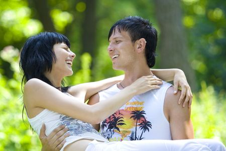 a young couple having fun in the park Stock Photo - 3362976