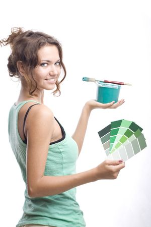 smailing woman with can, brush and palette Stock Photo - 3576355