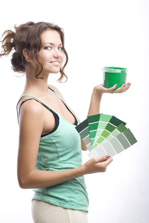 beautiful woman with can and palette Stock Photo - 3576365