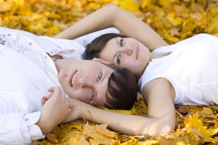 happy couple laying on yellow leaves photo