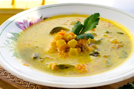 brussels sprouts: Vegetarian corn soup with brussels sprouts and other vegetables