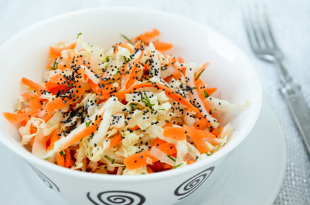 poppy seed: pe-tsai cabbage salad with carrot, dill, olive oil and poppy seed