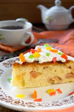 candied fruits: Celebration cake with vanilla sause, decorated candied fruits for party Stock Photo
